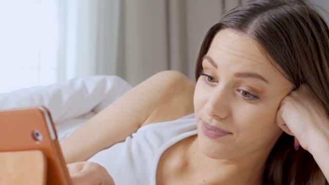 Teenage Girl Social Media in Bed. video