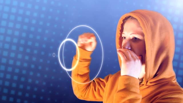 stockvideo's en b-roll-footage met tiener meisje, met oranje hoodie en sweatshirt, schreeuwt geluidsgolven - kids online abuse