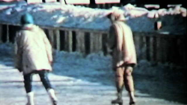 Teenage Girls Ice Skating In Winter-1958 Vintage 8mm film video