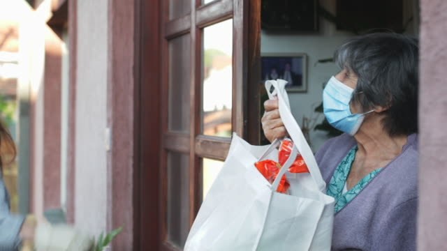 teenage girl,volunteer,delivering groceries to a senior woman, insulation,covid 19 - sostegno video stock e b–roll