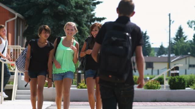 vídeos de stock, filmes e b-roll de cara adolescente flerta com meninas - 16 17 anos