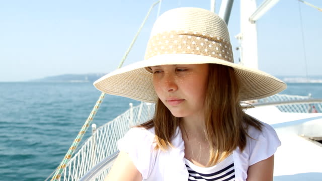 Teenager girl at yacht video