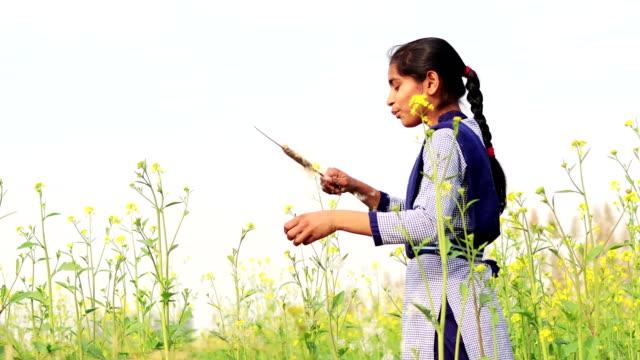 Teenager girl blowing dandelion seeds outdoor in nature video