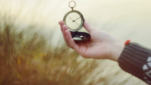 Teenager girl  holding an old compass in hand Teenager girl  holding an old compass in hand navigational compass stock videos & royalty-free footage