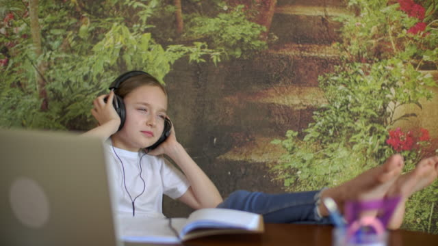 Teenager girl listening music in headphones in home. Carefree girl with legs on table listening music in earphones from laptop. Young girl enjoying song in headphones.