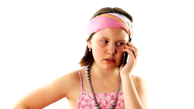 Teenager girl talking on the phone video