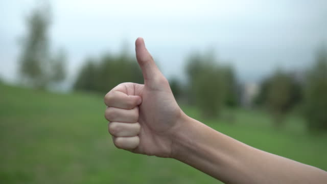 A teenager raises his hand in the shape of an OK on a background of green trees and sky in a park on a hillside