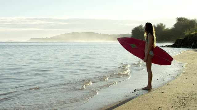 Teenager surfing on a tropical beach vacation to Hawaii video