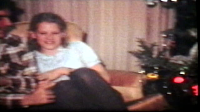 Teenagers Enjoy Christmas Tree (1980 Vintage 8mm film)