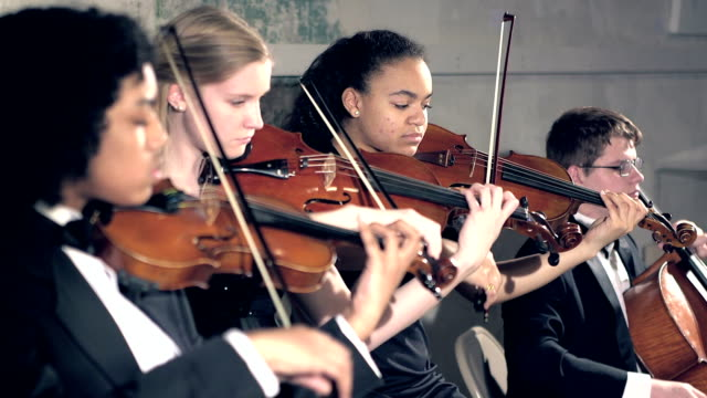 vídeos de stock e filmes b-roll de teenagers playing string instruments in concert - instrumental