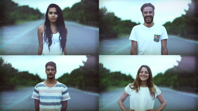 Teenagers portrait composition Teenagers portrait composition in 4k resolution video. Two boys and two girls looking at camera and smiling. multiple image stock videos & royalty-free footage