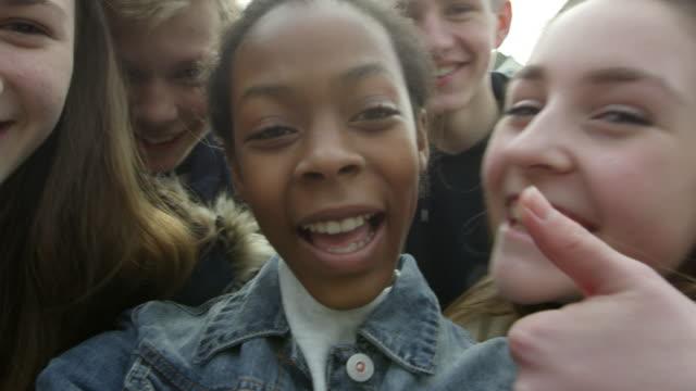 Teenagers Taking Selfie On Mobile Phone Shot On R3D video