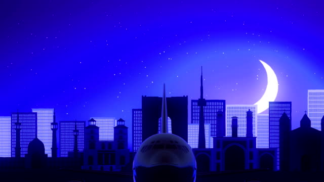 德黑蘭伊朗飛機起飛月亮夜藍色天際旅行 - 德黑蘭 個影片檔及 b 捲影像