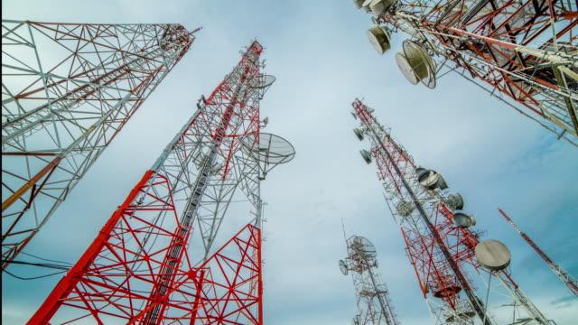 vídeos y material grabado en eventos de stock de satélite de antena de telecomunicaciones - mástil