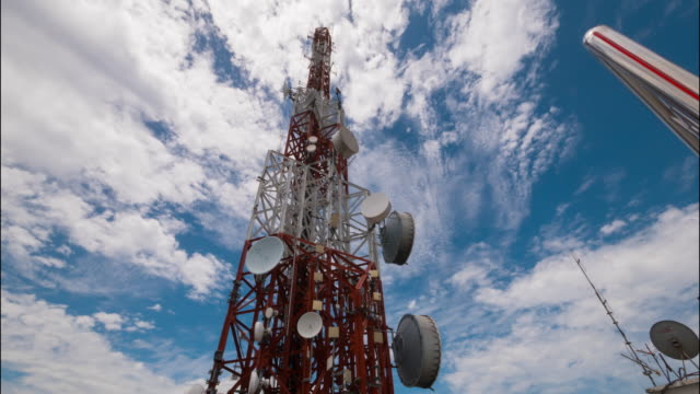telekommunikation antenner över staden - parabolantenn bildbanksvideor och videomaterial från bakom kulisserna