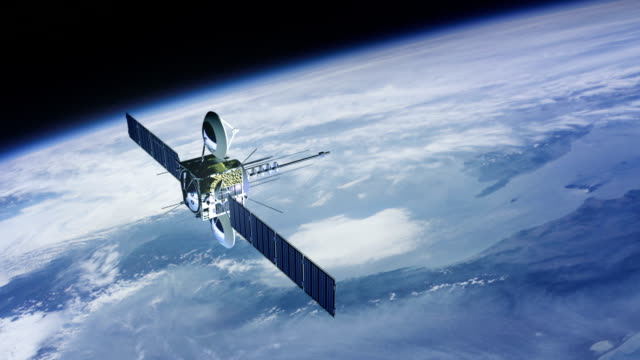 stockvideo's en b-roll-footage met telecommunication satellite. cinema quality 3d animation. high defitnition. - image