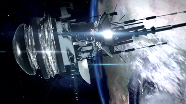 Telecommunication satellite in space. video