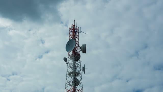 Telecommunication wireless technology with blue sky video