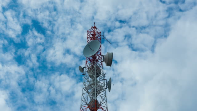 Telecommunications tower against blue sky video