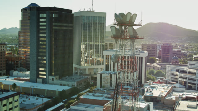 Telecoms Tower in Downtown Tucson - Aerial View