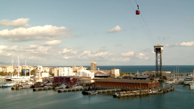 Teleferic , Cableway travels across the port of Barcelona video