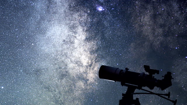 Telescope in starry night. Milky way rotation, Telescope in starry night. Milky way rotation. eye chart stock videos & royalty-free footage