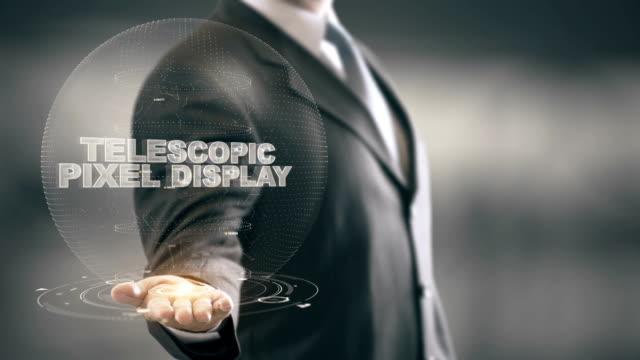 Telescopic Pixel Display with hologram businessman concept