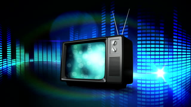 television on an abstract background - telecomando background video stock e b–roll