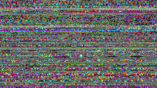 television static -- with stereo audio: loopable bright color pixelated digital noise. - halloween background filmów i materiałów b-roll