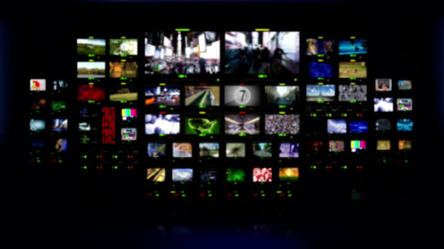 Television studio. Blue background. Multiple themed videos in a television studio. Blurred. Full HD. Animation created exclusively for iStockphoto.  multiple image stock videos & royalty-free footage