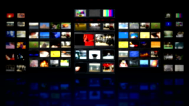 HD - Television studio. Blurred background with reflection video