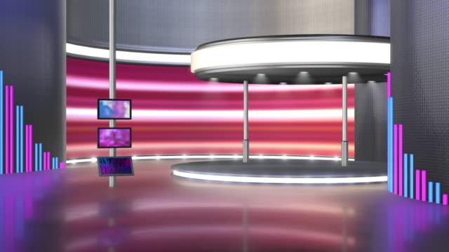 テレビスタジオ、バーチャルスタジオセット。グリーンスクリーンの合成に最適です。 - 展示会点の映像素材/bロール