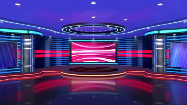 tv-studio, virtuell studiouppsättning. idealisk för grön skärm compositing. - studiofotografi bildbanksvideor och videomaterial från bakom kulisserna