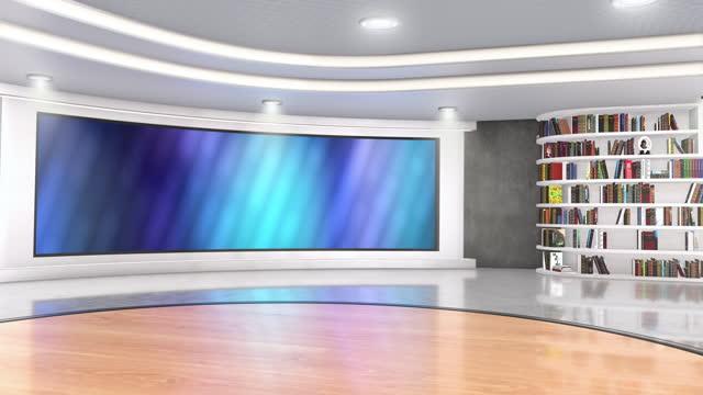fernsehstudio, virtuelles studio-set. ideal für greenscreen compositing. - atelier stock-videos und b-roll-filmmaterial