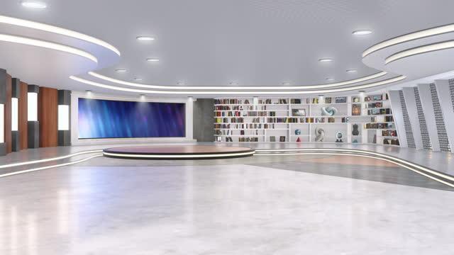 tv-studio, virtuell studiouppsättning. idealisk för grön skärm compositing. - dekor bildbanksvideor och videomaterial från bakom kulisserna