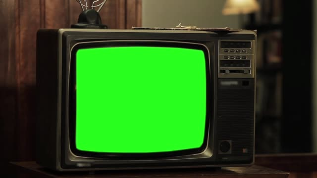 80S Television With Green Screen. Zoom In Slow. Sepia Tone.