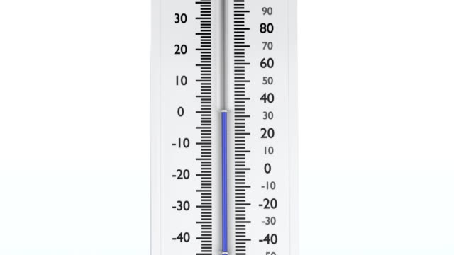 Temperature falls down on thermometer with blue mercury. video