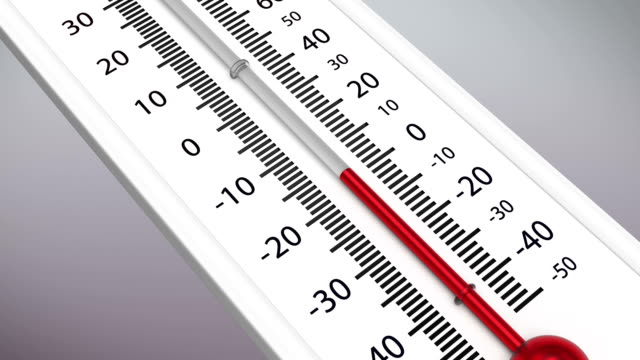 Temperature on the thermometer drops. video