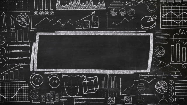 Template for text with hand drawn chalk infographics. The video is saturated with animated drawing chalk on a black chalkboard infographic with an object in the center where you can place an inscription. blackboard visual aid stock videos & royalty-free footage