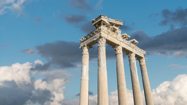 Temple of Apollo. Ancient ruins in Side. Turkey Temple of Apollo. Ancient ruins in Side. Turkey time lapse. architectural column stock videos & royalty-free footage