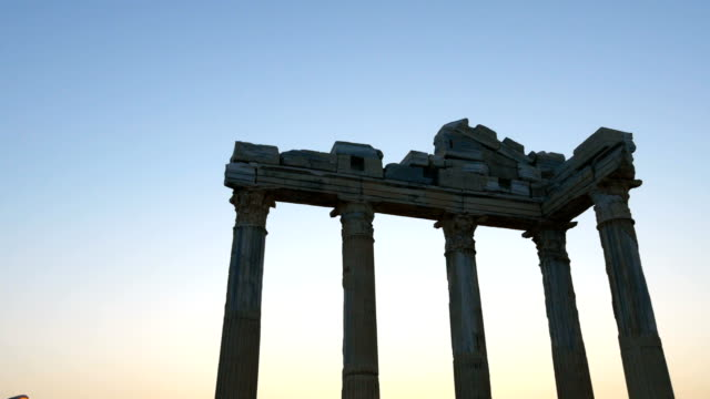 Temple of Apollo in the sunset video
