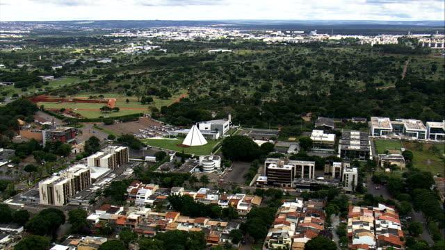Templo Da Boa Vontade-Vista aérea-Distrito Federal, Brasília, Brasil - vídeo