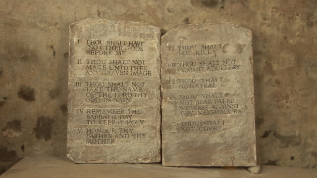 Ten Commandments Stone tablets 2 - HD & PAL Stock video clip footage of the Ten commandments on some mock stone tablets - Slow zoom in - Tripod old testament stock videos & royalty-free footage