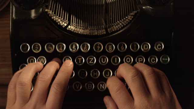 LD ten finger typewriting Locked down close up point of view shot of a person typing with 10 fingers on a typewriter. typewriter stock videos & royalty-free footage