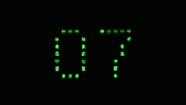 Ten seconds green digital countdown. video