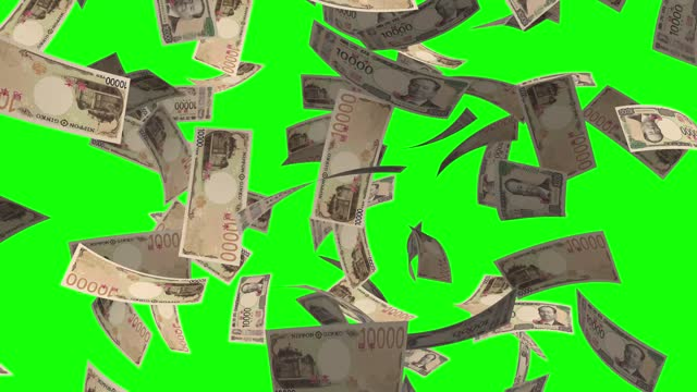stockvideo's en b-roll-footage met tienduizend yen note, japanse valuta, regenen geld groen scherm chroma key achtergrond 4k stock video - yenteken