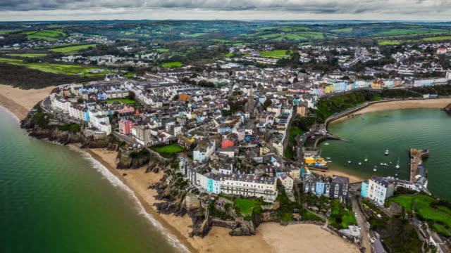Tenby inPembrokeshire, Wales - Aerial Hyperlapse