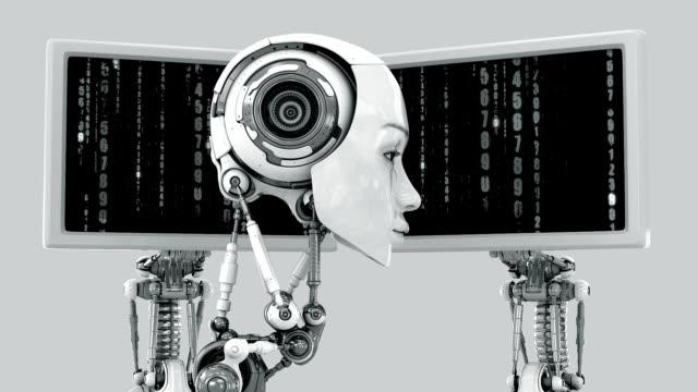 Tender robot - girl near the monitors video