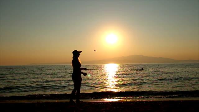 Tennis at sunset video