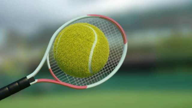Tennis ball hit by racket